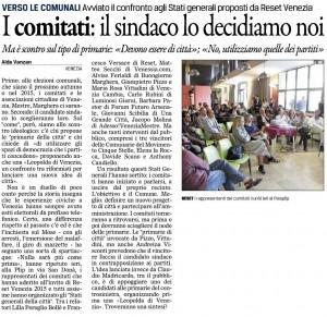 Articolo Vanzan il Gazzettino su Stati Generali RESET Venezia