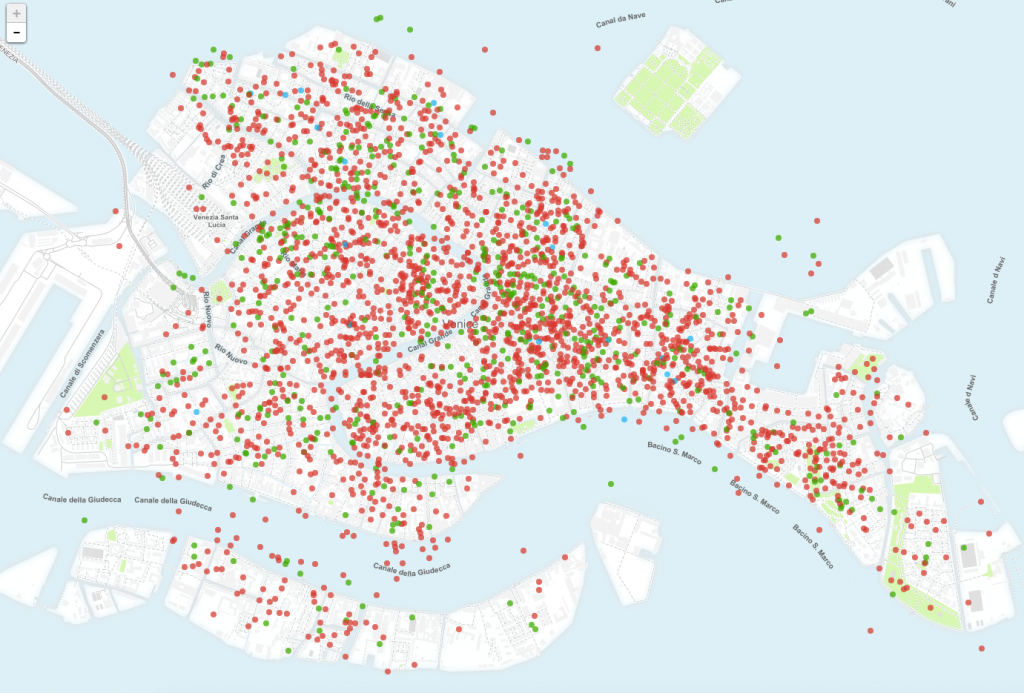 La mappa degli appartamenti turistici e affittacamere  realizzata partendo dai dati di insideairbnb.com